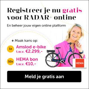 Gratis registreren op RADAR+ online + kans op een e-bike